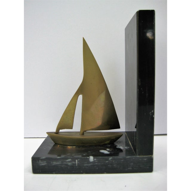 Image of Mid-Century Brass Sailboat Bookends - Pair