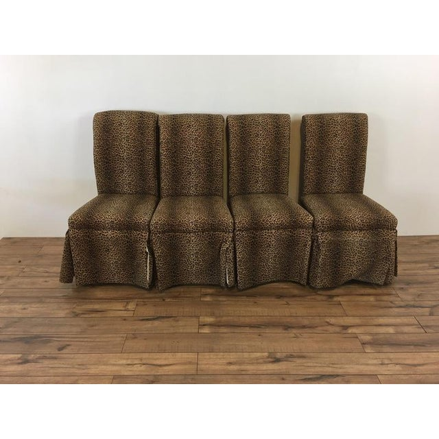 Group of Four Leopard Print Upholstered Side Chairs & Table - Image 9 of 9