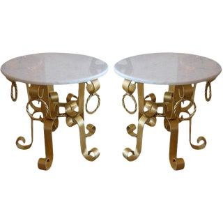 Fantastic Pair Of Italian Gilded Iron And Marble Top End Tables