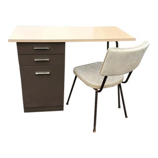 Mid Century Metal Desk & Chair