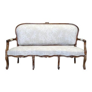 French Country Walnut Linen Settee or Sofa