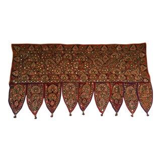Vintage Indian Embroidered Mirrored Door Valance