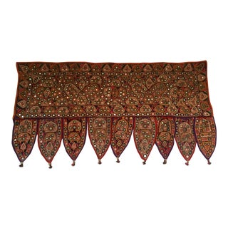 Vintage Indian Embroidered Mirrored Door Valance