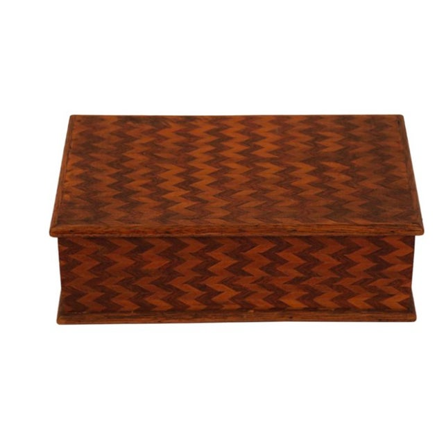 Folk Art Marquetry Zig Zag Box - Image 1 of 3