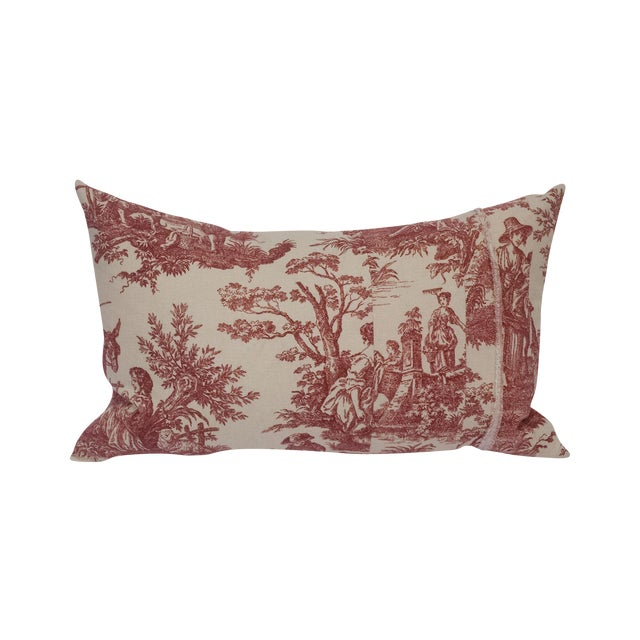 Red & Cream Toile Deconstructed Pillow - Image 1 of 5