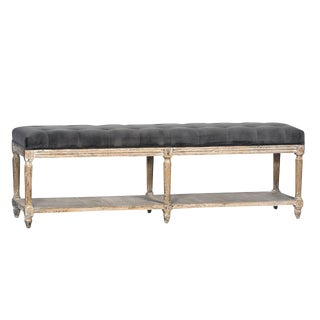 Oak Velvet Tufted Bench