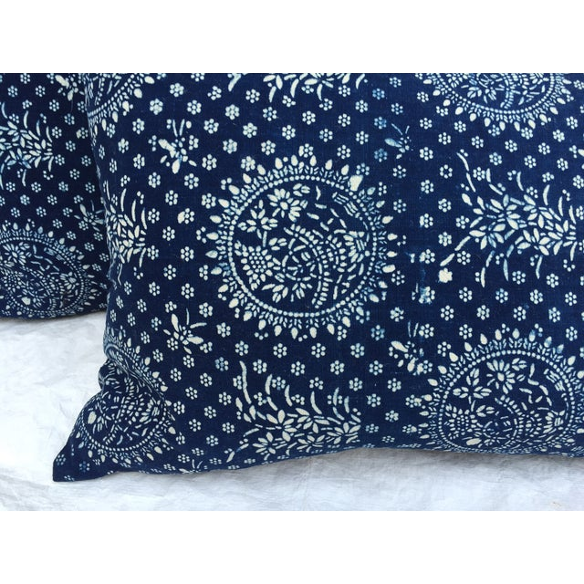 Indigo Batik Pillows- A Pair - Image 4 of 6