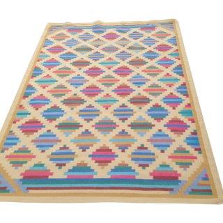 Flat Woven Wool Kilim Rug - 6' X 9'