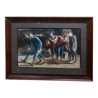 "Carl Hugo Beetz ""Taking the Baseball Field"" Mix Media Painting"