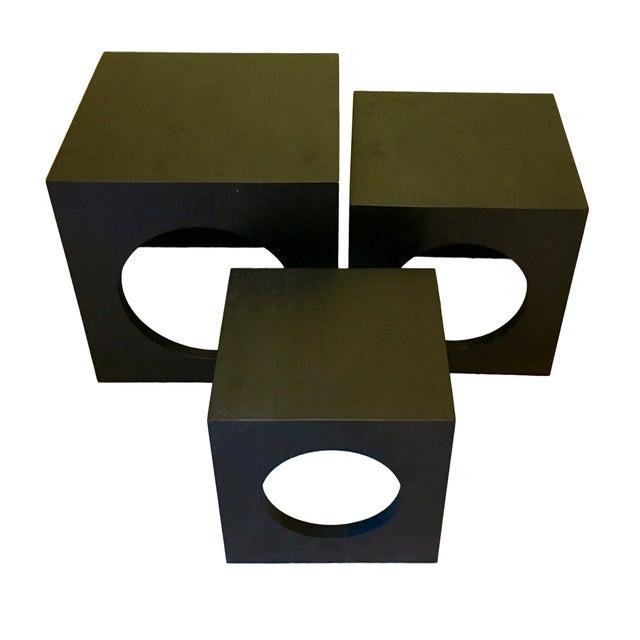 Image of Modern Black Wood Nesting Tables - Set of 3