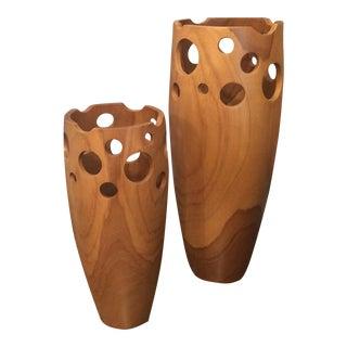 Pierced Teak Wood Vases - A Pair
