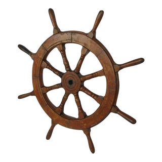 Large Late 19th Century Ship Steering Wheel