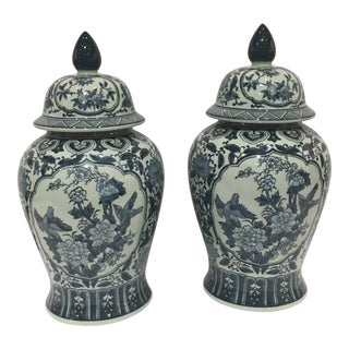 Tozai Blue & White Porcelain Ginger Jars - a Pair