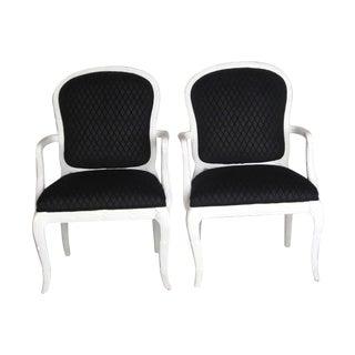 Serge Roche Style Black Diamond Arm Chairs
