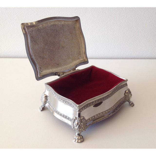 Silver Plated Lion-Footed Engraved Keepsake Box - Image 9 of 11