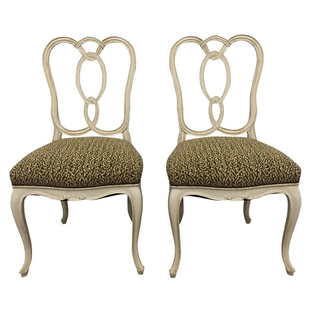 Upholstered Ribbon-Back Chairs - A Pair - Image 1 of 9