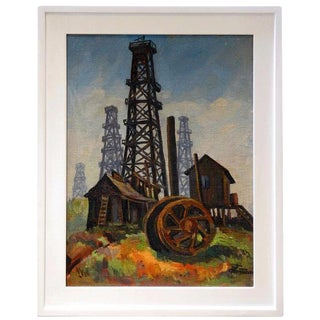 "Ted Christensen ""Oil Dericks"" Framed Painting"