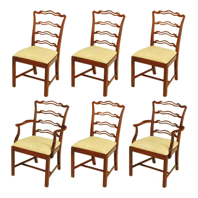 Six Ribbon Back Chippendale Dining Chairs - Image 1 of 10