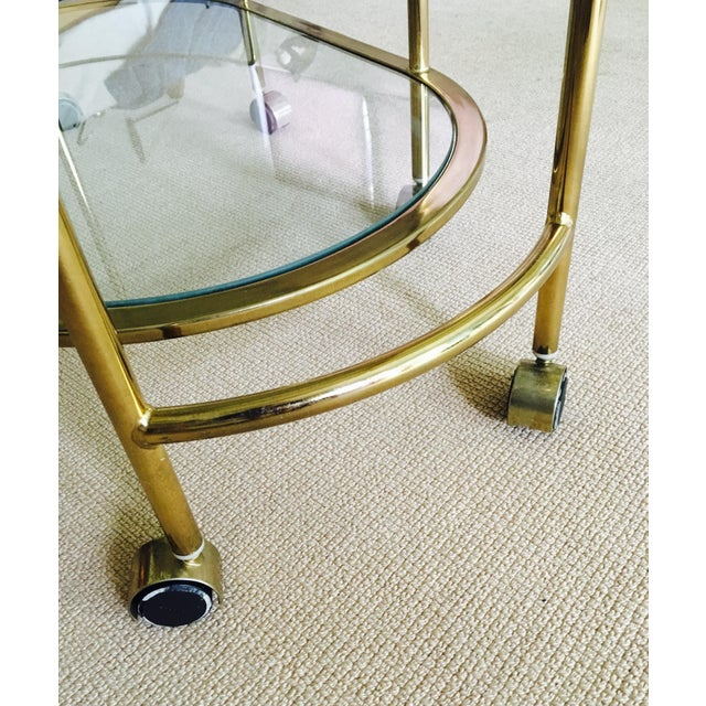 Vintage Triple Tiered Brass Swivel Bar Cart - Image 9 of 11