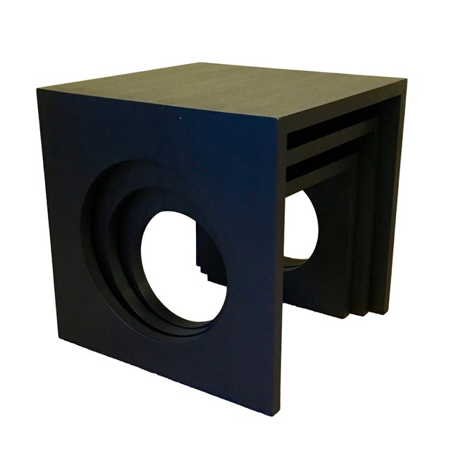 Modern Black Wood Nesting Tables - Set of 3 - Image 4 of 6