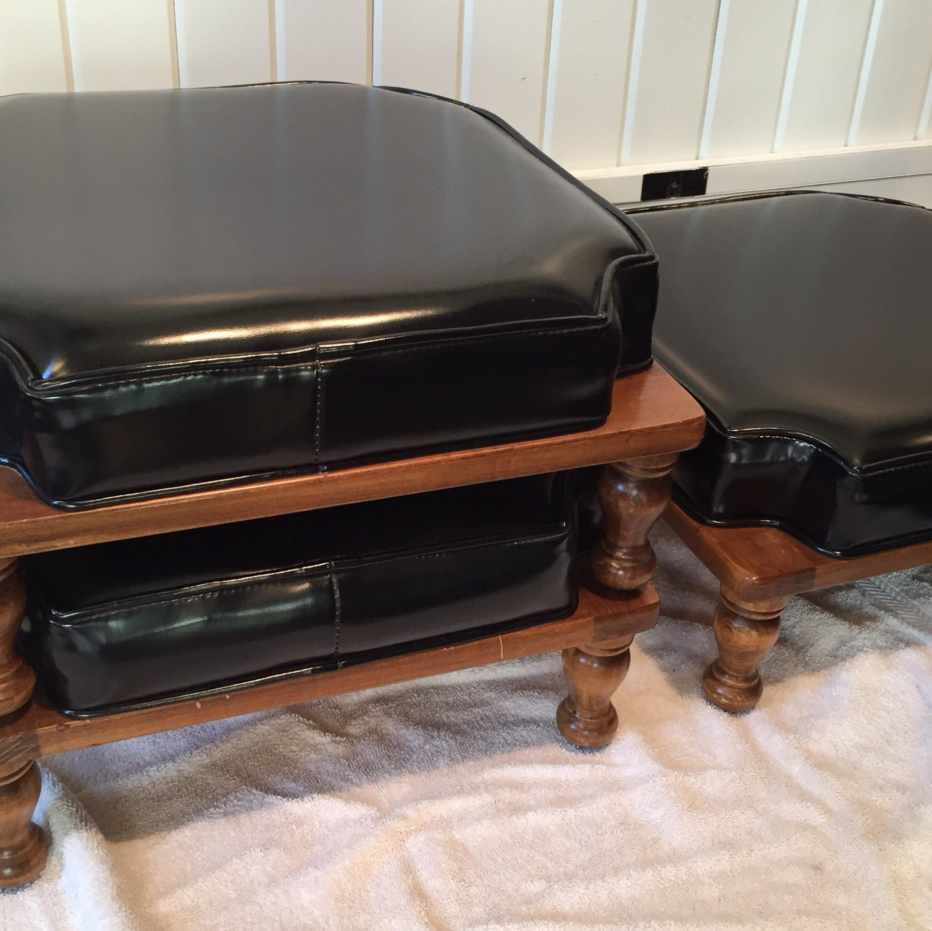 Vintage Black Vinyl Stacking Footstools Set Of 3 Chairish