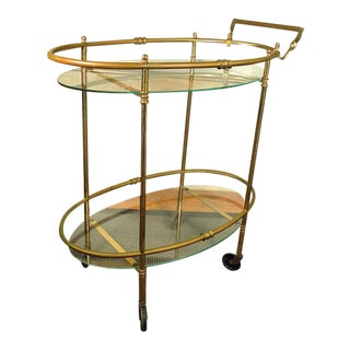 Vintage Mid-Century Brass & Glass Rolling Bar Cart