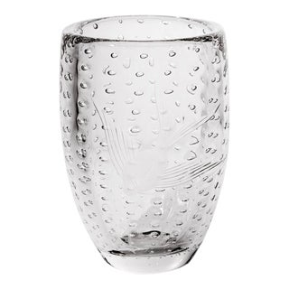 Etched Fish Design & Controlled Bubble Glass Vase
