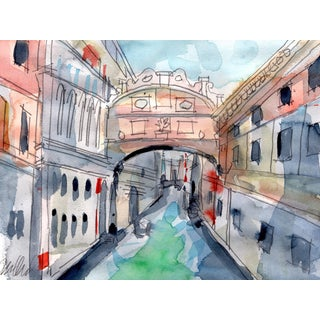 Venice Bridge of Sighs Watercolor