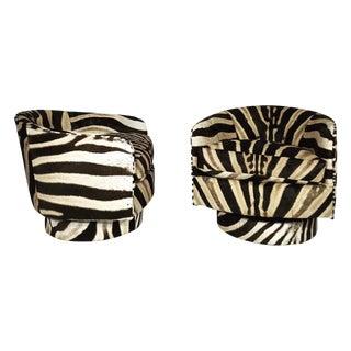 Milo Baughman Swivel Tilt Zebra Club Chairs - Pair