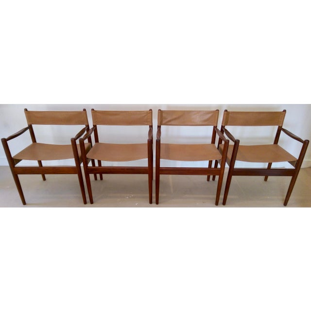 Arne Norell-Style Safari Sling Rosewood Chairs - Set of 4 - Image 3 of 8