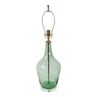 French Light Green Demijohn Glass Lamp