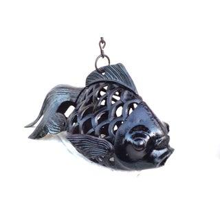 Vintage Wrought Iron Koi Fish Hanging Sculpture
