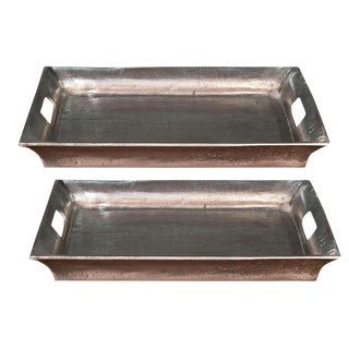 Sarreid Ltd Black Antiqued Silver Aluminum Trays - a Pair