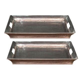 Sarreid Ltd Black Antiqued Silver Aluminum Trays - a Pair