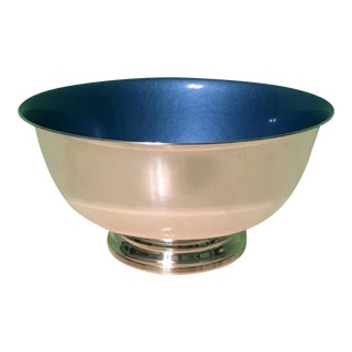Silverplate Paul Revere Bowl With Blue Enamel Interior