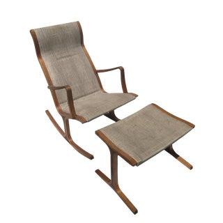 Danish Teak Sculptural Rocking Chair & Ottoman - A Pair