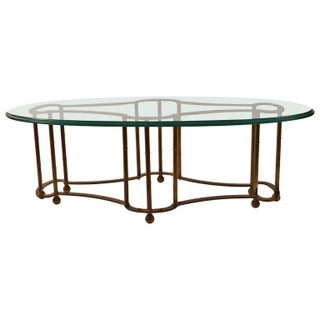 Modern Master Craft Brass & Glass Coffee Table