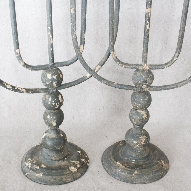 Large Rustic Painted Metal Candlesticks - 3 - Image 8 of 11