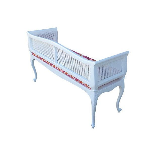 Image of French Caned Satin White Settee