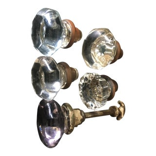 Vintage Glass Door Knobs - Set of 5