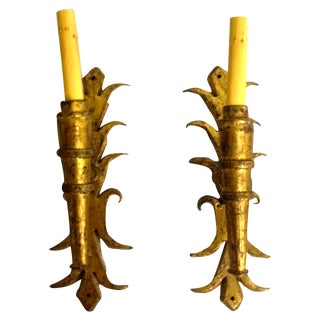 French Gilt Metal Sconces - A Pair