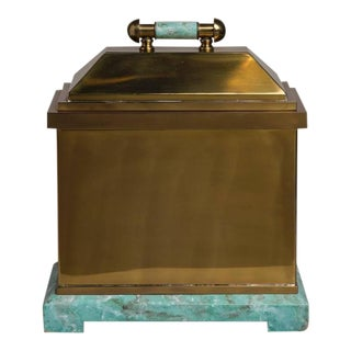 An Oversized Lorin Marsh Brass and Simulated Green Stone Box