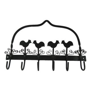 Vintage Black Iron Chicken Wall Hook