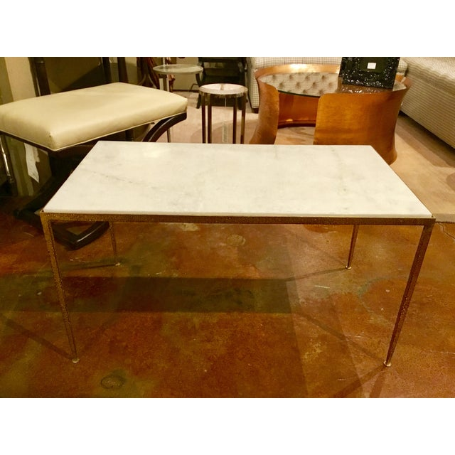 Arteriors Hammered Metal and Marble Cocktail Table - Image 5 of 5