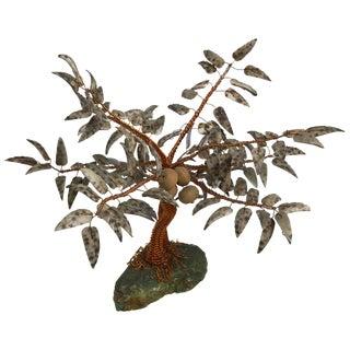 Vintage Mid Century Copper/Ceramic Coconut Tree