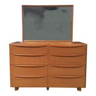 Mid-Century Modern Heywood-Wakefield 8-Drawer Dresser With Mirror Encore Series M524 Champagne Color, Circa 1952