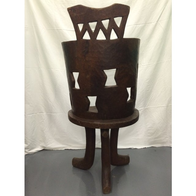 Antique Ethiopian Hand Carved Wooden Chair - Image 5 of 6