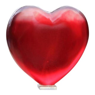 Glowing Crimson Heart Decorative Object