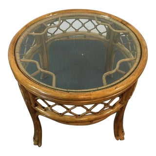 Boho Round Glass & Wicker End Table