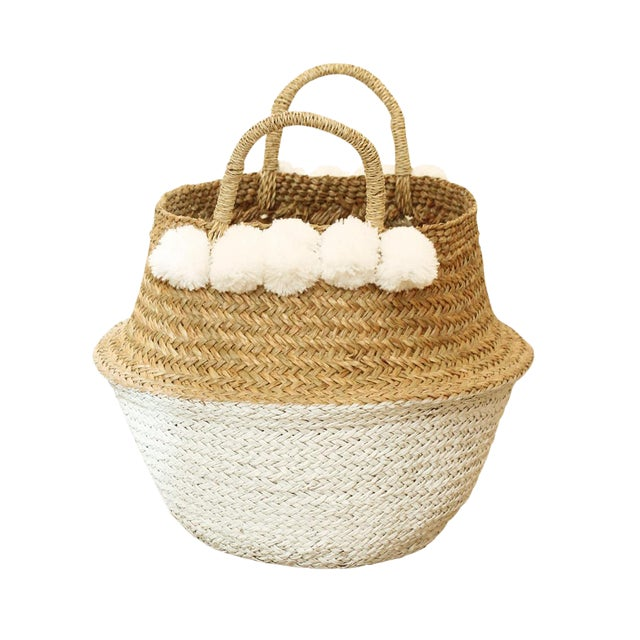 Image of Sea Grass & White Pom Pom Basket